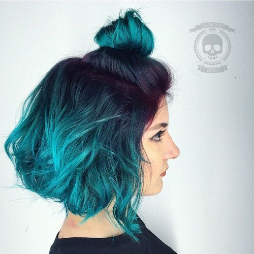 17 black to teal ombre bob with purple roots