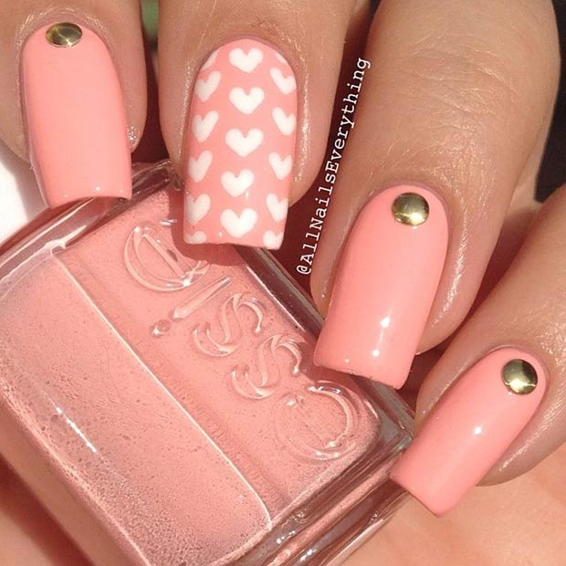 18 Simple Heart Nail Design for Valentines Day