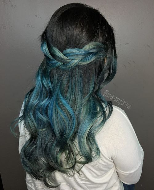 18 black hair with pastel blue ombre