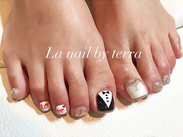 19 Bride And Groom Toe Nail Design For A Wedding