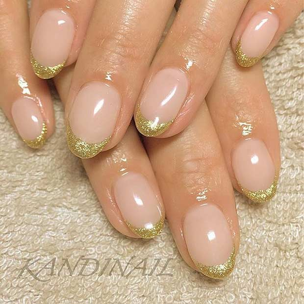 31 cool french tip nail designs page 19 foliver blog 19 golden french tips for almond shaped nails solutioingenieria Images