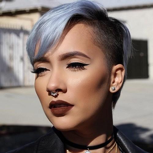 19 short asymmetrical pastel blue undercut