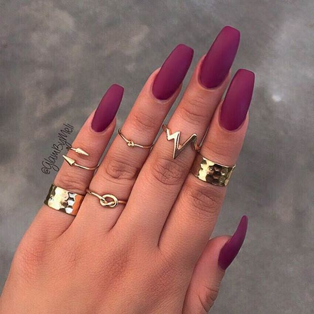 2 Long Burgundy Matte Nails
