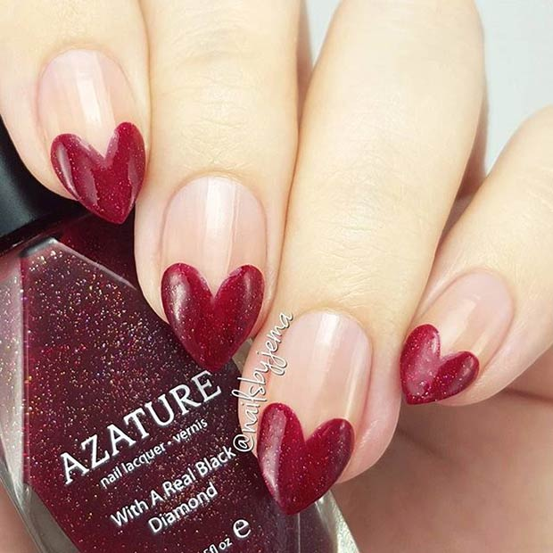 2 Red Heart Tip Nail Art Design