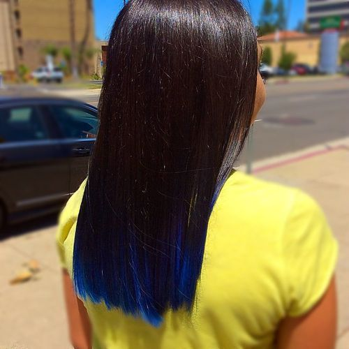 2 blue ombre hair with barely dipped tips