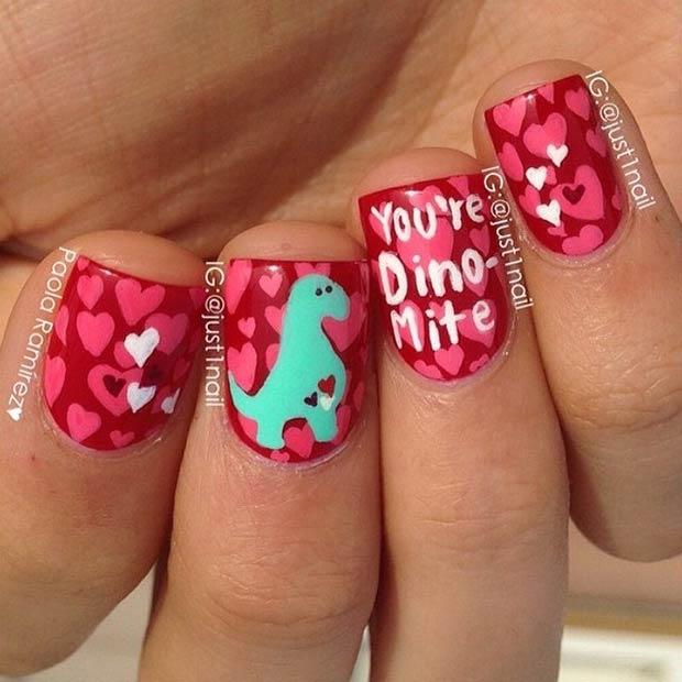 20 Cute Dinosaur Valentines Day Nails