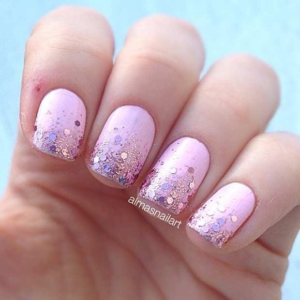 20 Elegant Pink Glitter Gradient Nail Design - 55 Super Easy Nail Designs – Page 20 – Foliver Blog