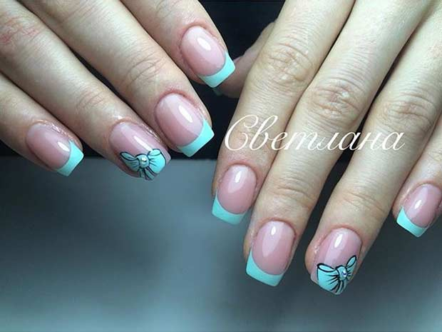 31 cool french tip nail designs page 21 foliver blog 21 french tip nail design with bow prinsesfo Image collections