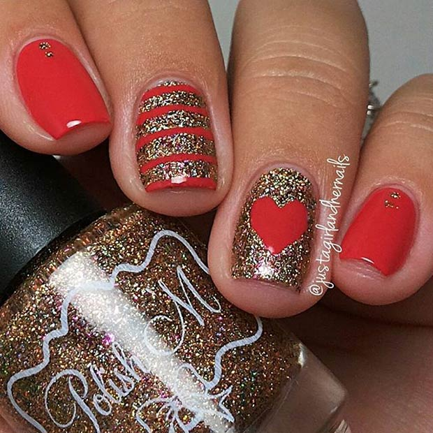 21 Red and Gold Glitter Valentines Day Nails