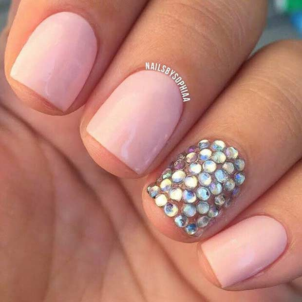 55 super easy nail designs page 21 foliver blog 21 rhinestone accent nail on short nails prinsesfo Images