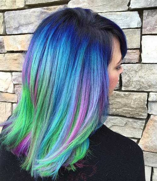 21 blue hair with green and purple highlights