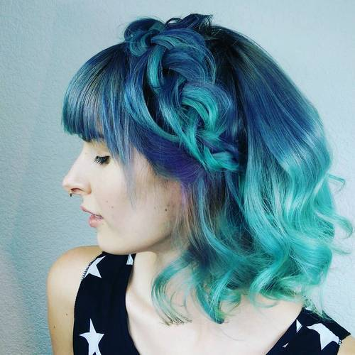 22 medium blue and teal hairstyle