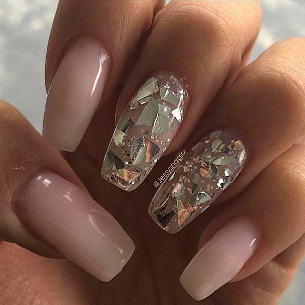 31 trendy nail art ideas for coffin nails page 23 foliver blog 23 nude coffin nails with golden sequins prinsesfo Choice Image