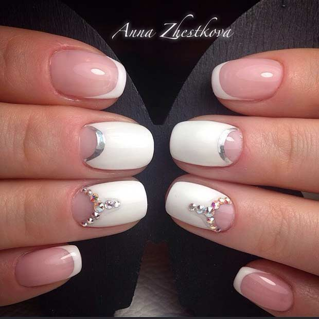 23 White Wedding Nail Art Design