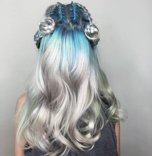23 blue to silver ombre hair