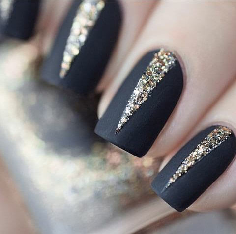 24 Black Matte Gold Glitter Nails