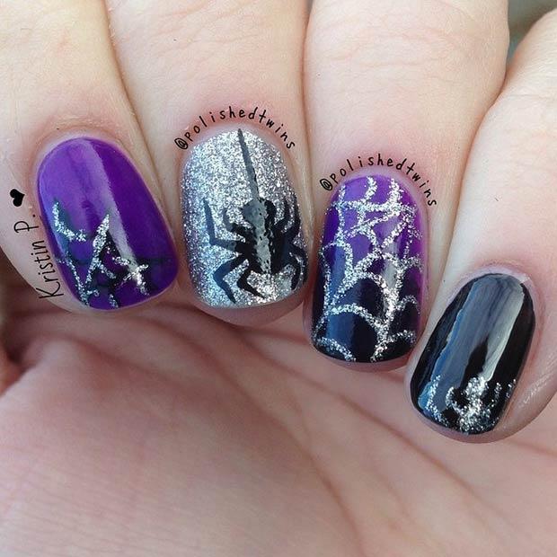 24 Black Purple Spider Design