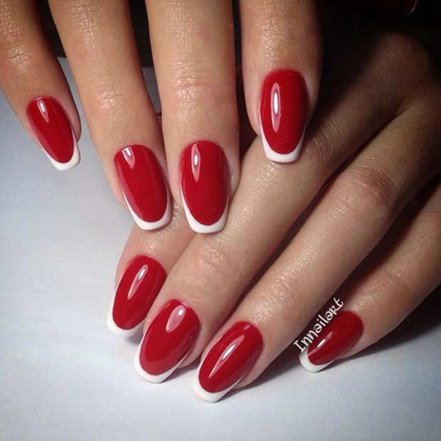 31 cool french tip nail designs page 24 foliver blog 24 red and white french tip nails prinsesfo Gallery