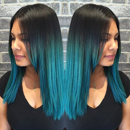 24 raven hair with turquoise blue ombre