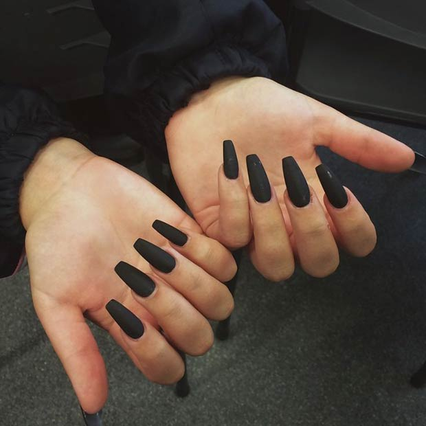 25 matte nail designs youll want to copy this fall page 25 25 black matte coffin nails prinsesfo Image collections