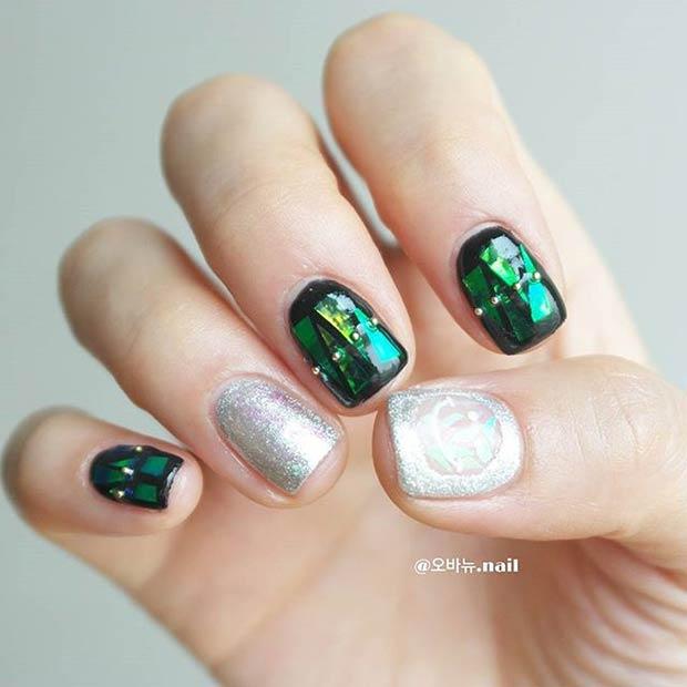 25 Green Silver Glitter Design
