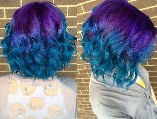 25 wavy bob in blue and purple