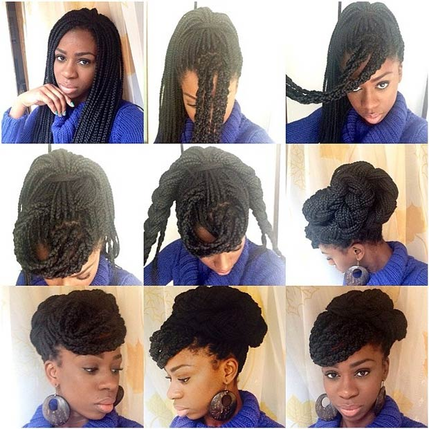 Box braid updo
