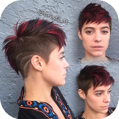 26 red pixie cut with brown striped mohawk