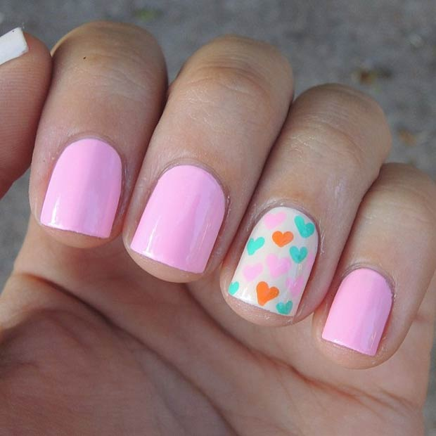 27 Colorful Hearts Accent Nail for Valentines Day