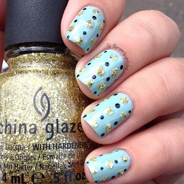 28 Gold Polka Dots Nail Art Design - 55 Super Easy Nail Designs – Page 28 – Foliver Blog