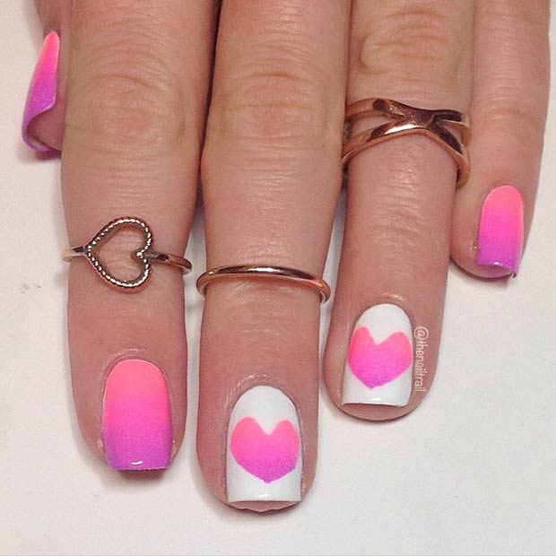 29 Bright Ombre Heart Manicure for Valentines Day