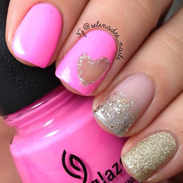 3 Pink and Gold Glitter Valentines Day Nails