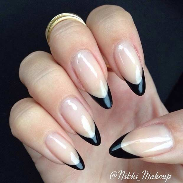 30 Black French Tips on Stiletto Shaped Nails