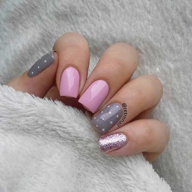 55 super easy nail designs page 34 foliver blog 34 pretty pink and gray nail design prinsesfo Image collections