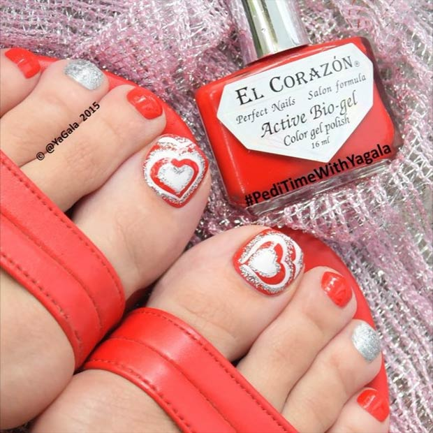 35 Heart Toe Design for Valentines Day