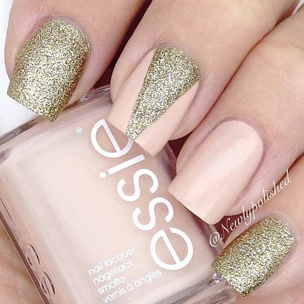 Gold glitter nail art design image collections nail art and nail 55 super easy nail designs page 37 foliver blog 37 peach and golden glitter nail art prinsesfo Images