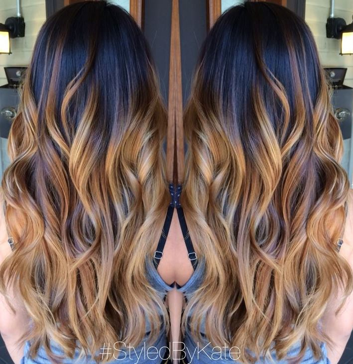 60 balayage hair color ideas with blonde brown caramel and red 38 black to caramel ombre long hair urmus Image collections