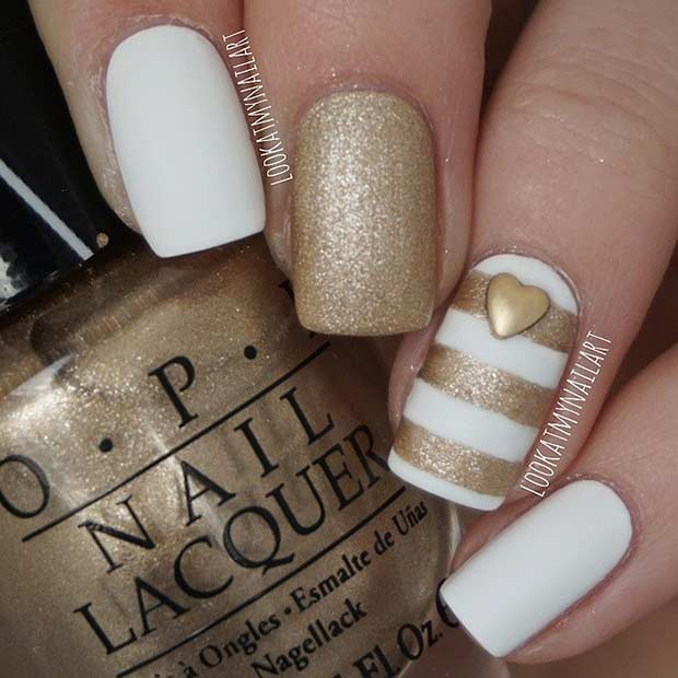 4 Easy White and Gold Striped Nail Design - 55 Super Easy Nail Designs – Page 4 – Foliver Blog