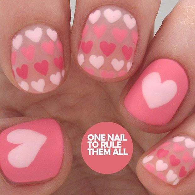 4 Matte Valentines Day Nail Design