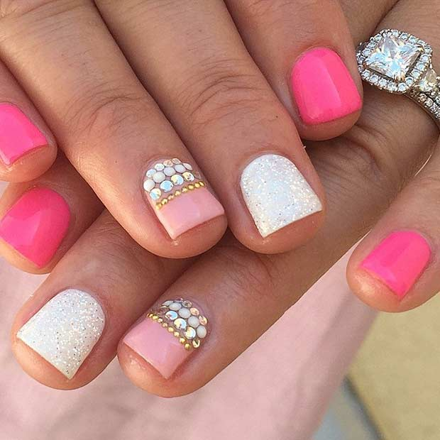 40 Girly Pink Nail Design - 55 Super Easy Nail Designs – Page 40 – Foliver Blog