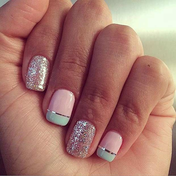 5 Easy Pastel and Glitter Nail Design - 55 Super Easy Nail Designs – Page 5 – Foliver Blog