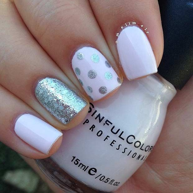 55 super easy nail designs page 6 foliver blog 6 easy light pink and silver nail design prinsesfo Image collections