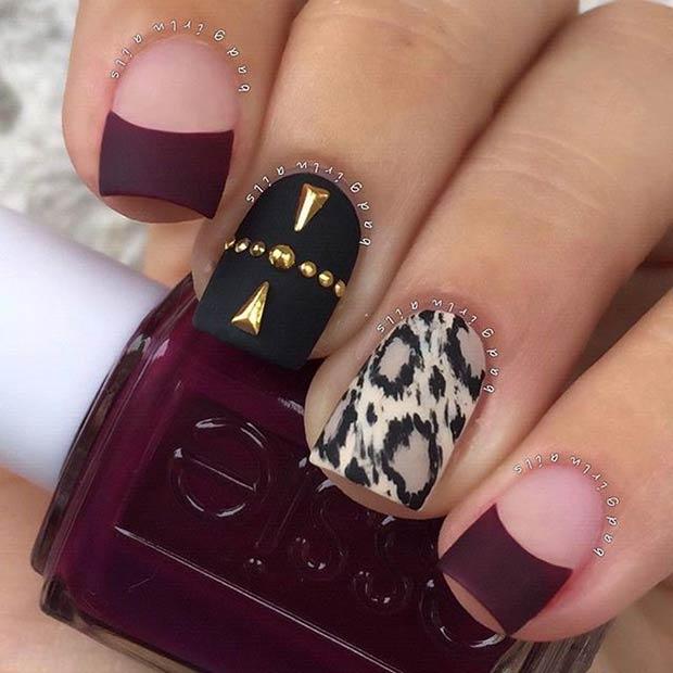 6 Leopard Print Accent Nail