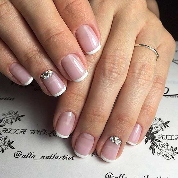 6 Wedding French Tip Mani With An Accent Nail