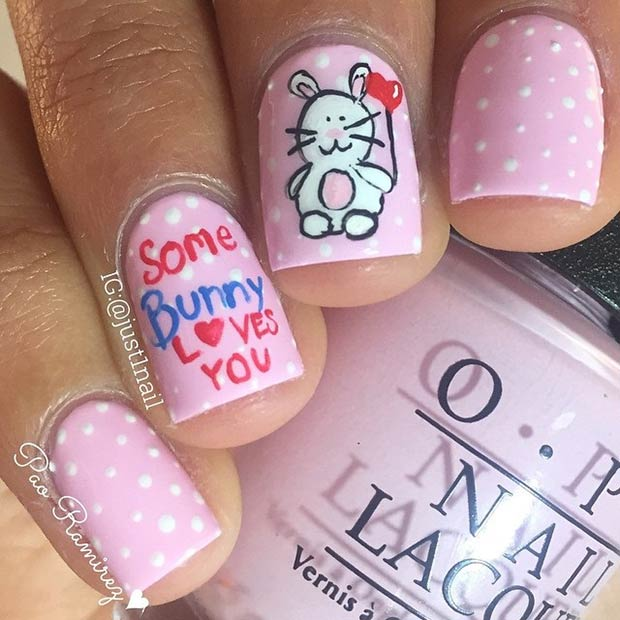 7 Cute Bunny Valentines Day Nails