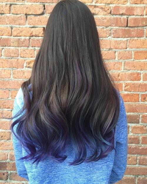 7 long dark brown hair with purple ends