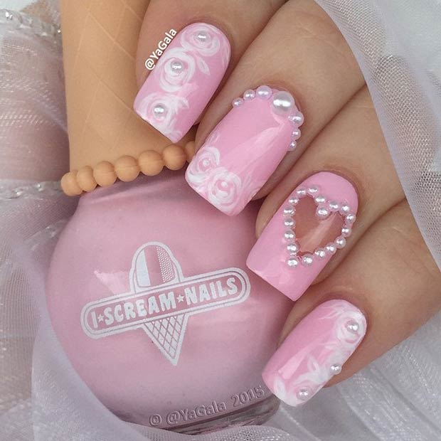 8 Pink and White Valentines Day Nails