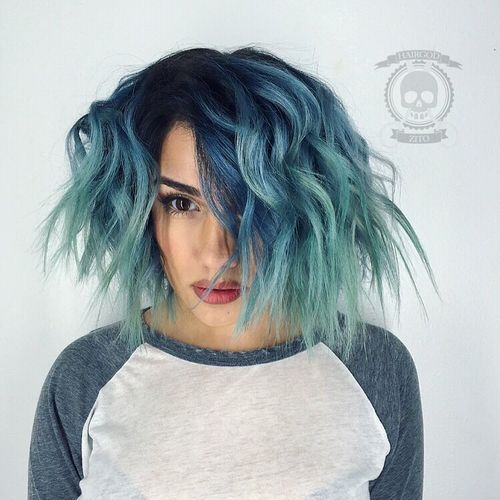 8 blue to teal ombre lob with black roots