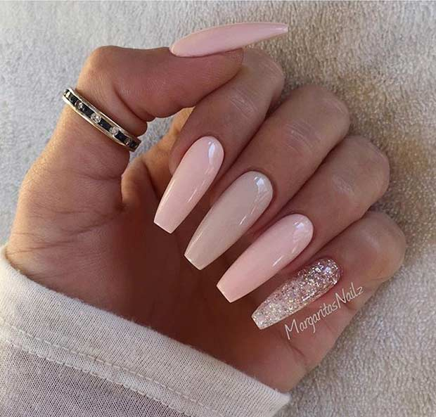 9 Long Pink And Neutral Coffin Nails