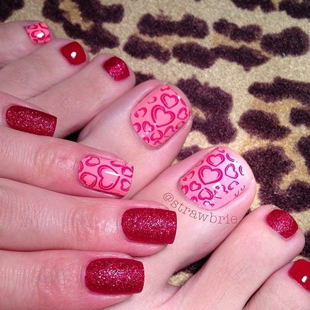 9 Pink and Red Valentines Day Pedicure